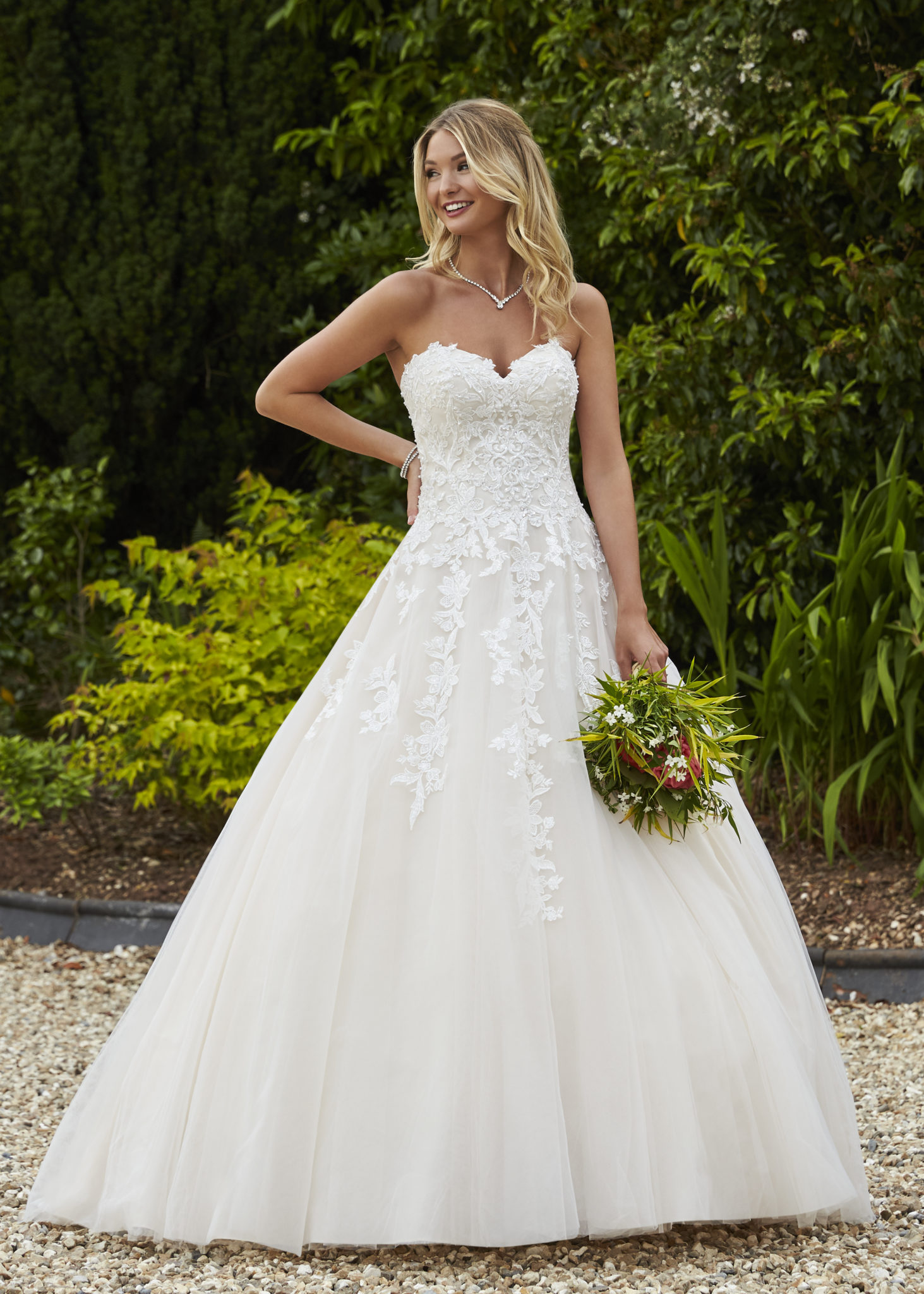 strapless lace princess ballgown